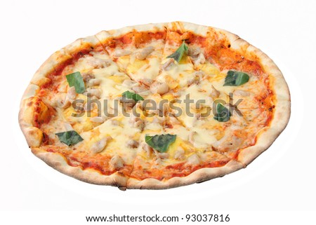 Pizza hawaiian isolated over white background. Side view.