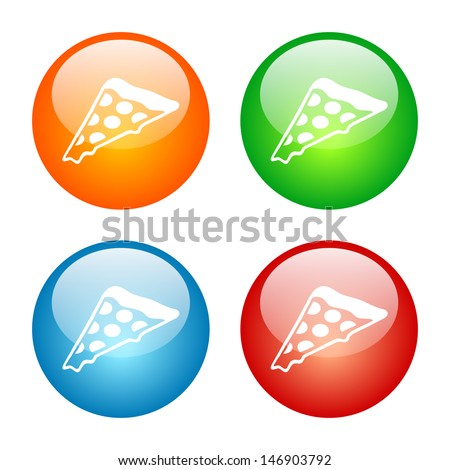 Pizza Icon Colorful Glass Icon Set. Raster version, vector also available. - stock photo