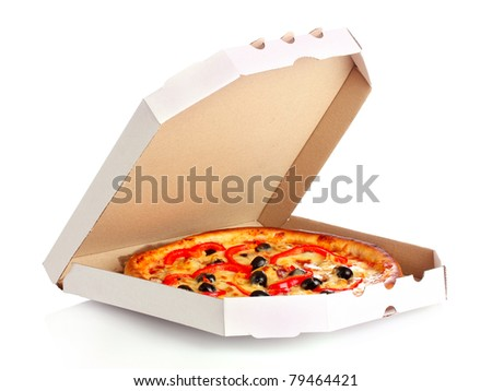 pizza in box isolated on white - stock photo