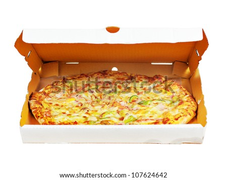 Pizza in box with clipping path - stock photo