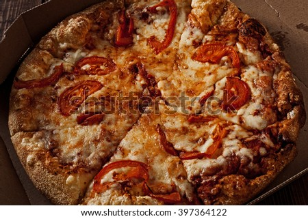 pizza in the in delivery box crop image - stock photo
