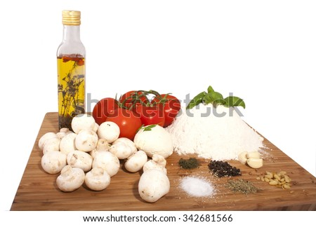 pizza ingredient isolated on a white background - stock photo
