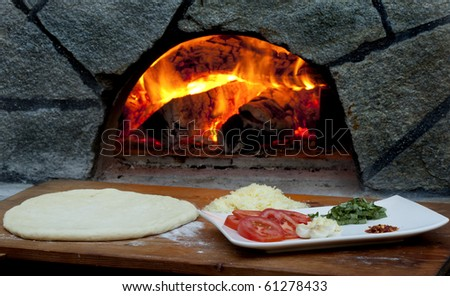 Pizza ingredients for wood fired pizza - stock photo