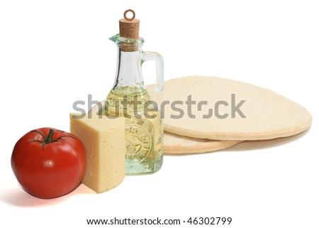 pizza ingridients isolated on white - stock photo