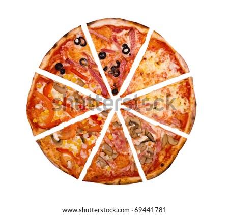 Pizza.isolated on white background - stock photo