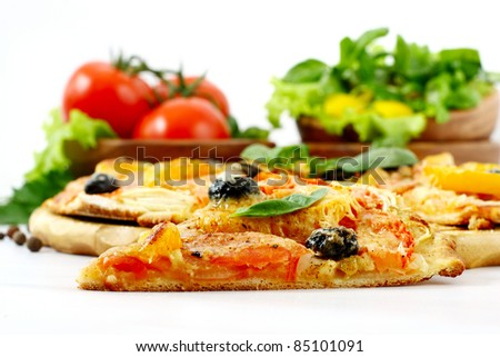 Pizza isolated over white background - stock photo