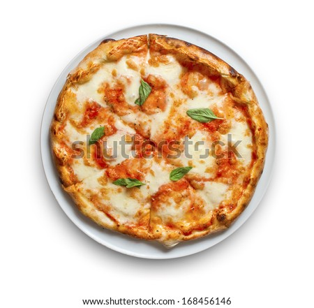 Pizza Margherita just mozzarella and tomato sauce with some fresh basil - stock photo