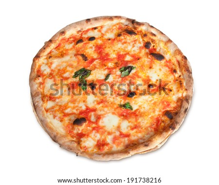Pizza Margherita with mozzarella isolated on white background - stock photo