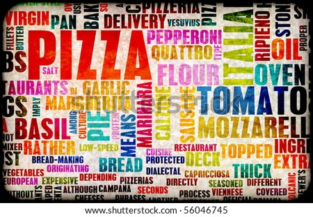 Pizza Menu as Concept Background with Toppings - stock photo