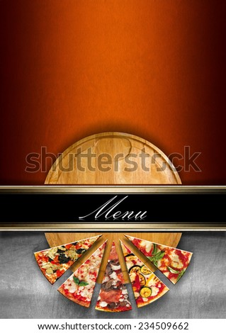 Pizza Menu Design / Orange and metal background with horizontal black band and written menu, round cutting board and slices of pizza. Template for a pizza menu  - stock photo