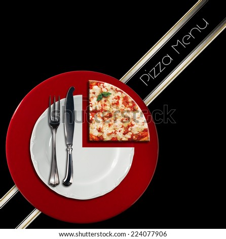 Pizza Menu Design / Pizzeria menu with white plate on red underplate with cutlery and slice of pizza, on black background with diagonal band - stock photo
