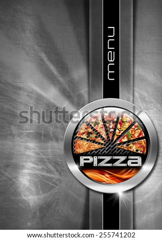 Pizza menu design with metallic round pizza symbol on steel brushed background with black vertical band and written menu - stock photo