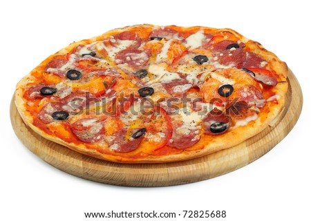 pizza on a wooden board - stock photo