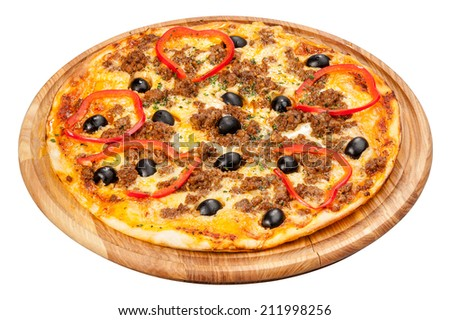 pizza on a wooden plate on a white background