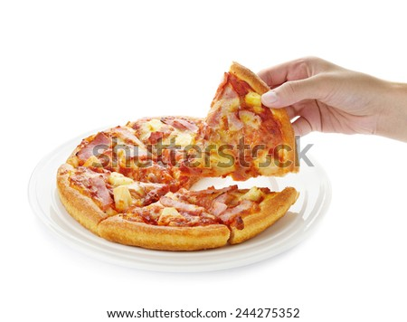 Pizza on the plate isolated on white background - stock photo