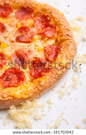 Pizza on the white table