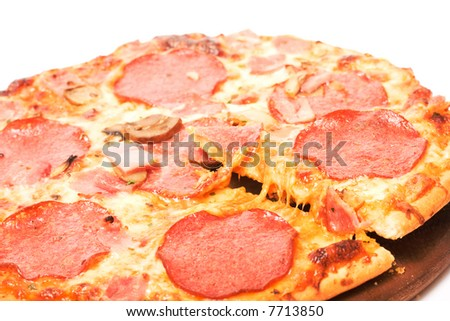 Pizza on white background. Junk food image series