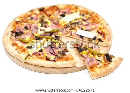 Pizza on wooden platter isolated on white background