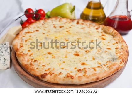 Pizza Quattro Formaggi - stock photo