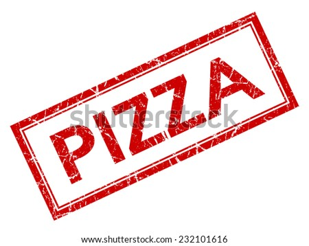 Pizza red square grungy stamp isolated on white background - stock photo