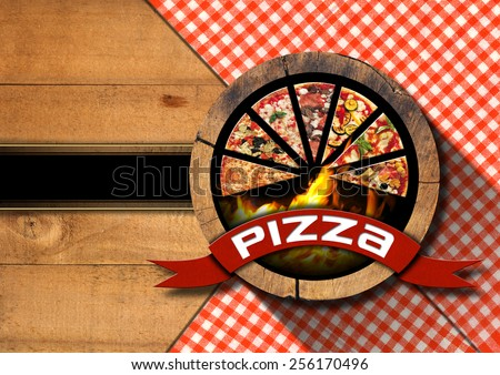 Pizza - Rustic Menu Design. Wooden background with red and white tablecloth, symbol with slices of pizza and flames. Template for a rustic pizza menu - stock photo