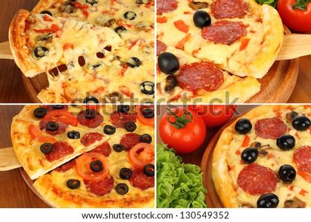 Pizza set on wooden paddle - stock photo