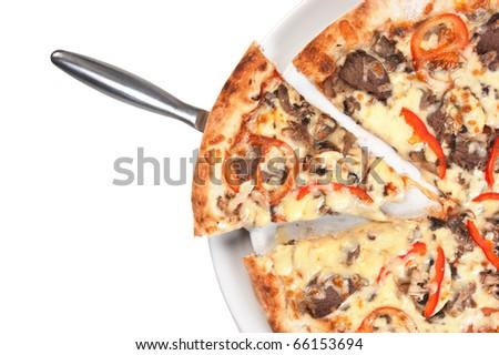 Pizza Slice  isolated on white background - stock photo