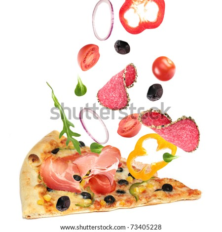 Pizza slice with ingredients in the air - stock photo