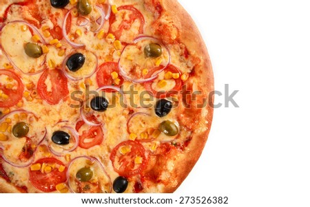 Pizza Vegetarian with tomatoes, olives, corn, onion and black olives isolated on white - stock photo