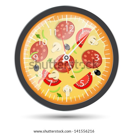 Pizza watch concept  illustration