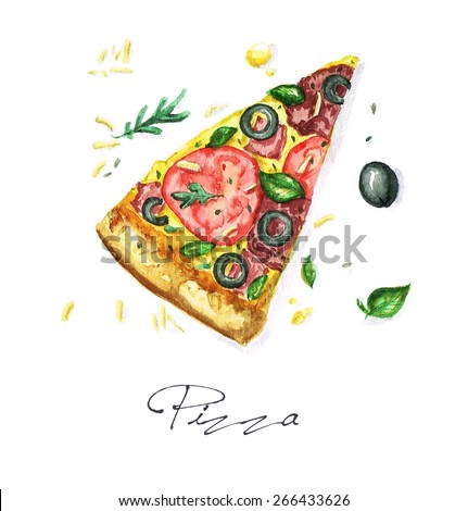 Pizza - Watercolor Food Collection - stock photo
