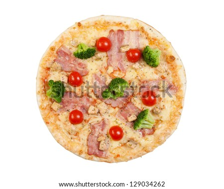 pizza with bacon, cauliflower, cheese, cherry tomatoes, isolated