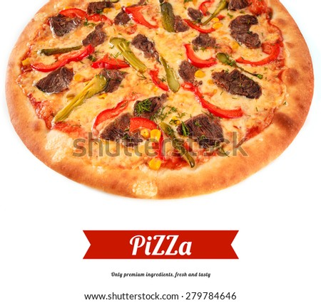 Pizza with beef, sweet pepper, cucumber, sweet corn, cheese and greens close-up, selective focus, macro. Italian cuisine - stock photo