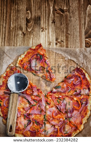 Pizza with cauliflower crust - stock photo