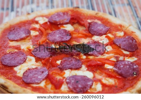 pizza with cheese and ham - stock photo