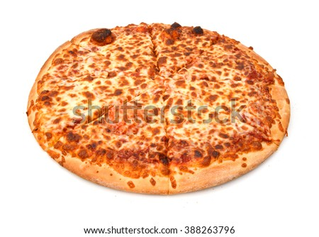 Pizza with cheese isolated on white background