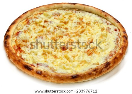 pizza with cheese on the white background
