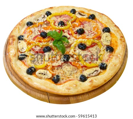 Pizza with cheese, peper, tomato, mushrooms and olives - stock photo