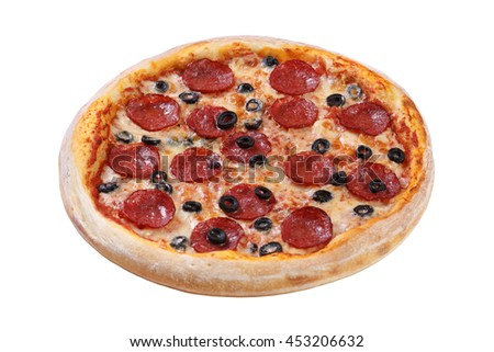 Pizza with cheese, salami, mushrooms, olives and tomato sauce
