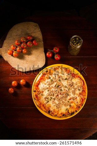 Pizza with chicken, mozzarella cheese and sprouts - stock photo