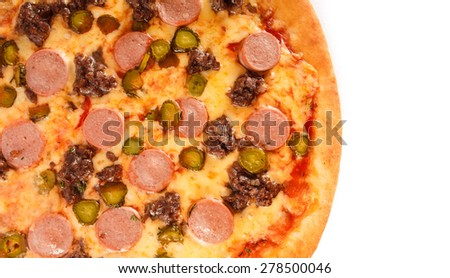 Pizza with ground beef, sausage, cucumber and cheese isolated on white background. Is a popular pizza topping in American-style pizzerias isolated over white background - stock photo