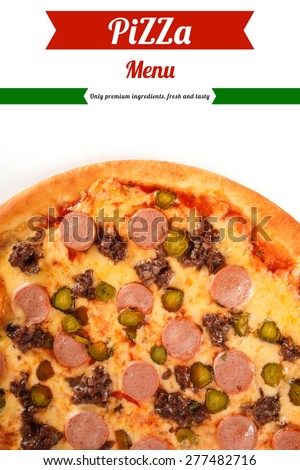 Pizza with ground beef, sausage, cucumber and cheese isolated on white background. Italian cuisine. - stock photo