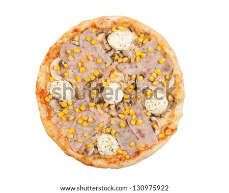 pizza with ham, cheese, mayonnaise, mushrooms and corn, isolated - stock photo