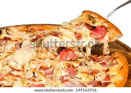 pizza with ham cheese tomatoes and onions - stock photo