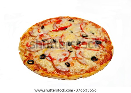 Pizza with ham, sausage, meat, pepper and olives as food background or texture. Isolated on white background - stock photo