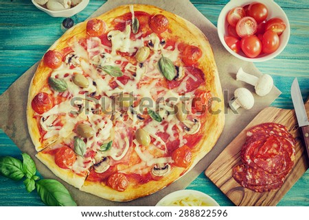 Pizza with Ingredients - stock photo
