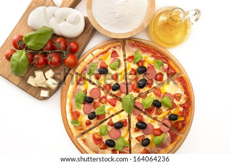 pizza with ingredients on isolated on white background - stock photo