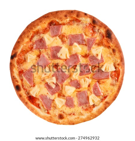 Pizza with Mozzarella Cheese, Porc Ham, Pineapple and Sauce isolated on white