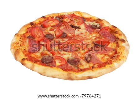 Pizza with mozzarella, ham, sausage, salami, peppers and tomatoes isolated on white background