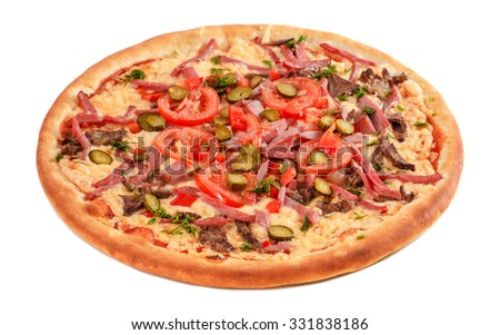 Pizza with pastrami, beef, red pepper, tomato, cucumber and cheese, isolated on white